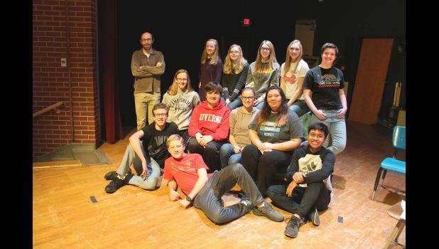 """Luverne High School will present the one-act play, """"Golden Gone,"""" at 7 p.m. Friday, Jan. 25, in the high school theater. First-year director Joseph Stearns (back, far left) leads the cast and crew that includes (on floor from left) Xavier Carbonneau, Burke Johnson, Seno Chanthalangsy, (second row, sitting) Amelia Jarchow, Cameron Wessels, Josie Golla, Adriana Gonzalez, (back) director Stearns, Elise Jarchow, Melanie Rittenhouse, Nicole Hoogland, Nicole Aanenson and Meagan Hansen."""