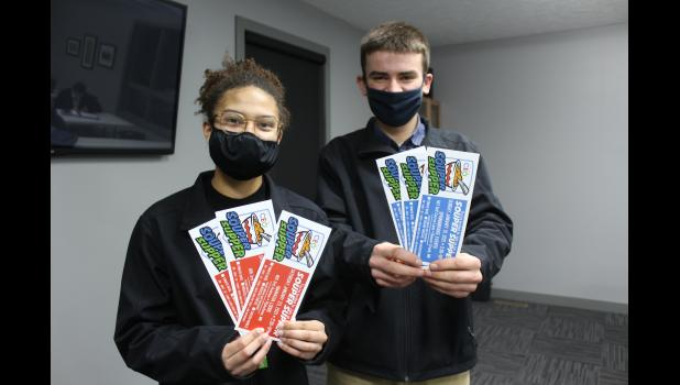 """Southwest Minnesota CEO students Mia Wenzel and Wyatt Decker hold tickets for the first of two class events called """"Souper"""" Supper. The events take place this Saturday in Pipestone and Jan. 31 in Beaver Creek."""