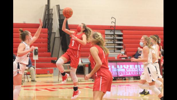 Brennen Rupp photo/0121 Luverne GBB photo Brooklynn Ver Steeg attempts a shot in the paint during Luverne's home game against Jackson County Central on Saturday, Jan. 16.