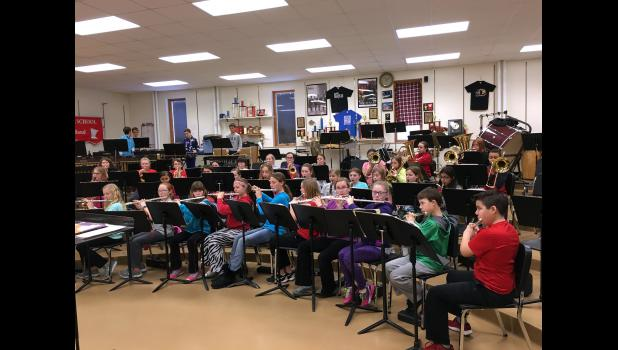 Angie Swenson's fifth-grade band students warmed up for rehearsal by playing 100 quarter notes.