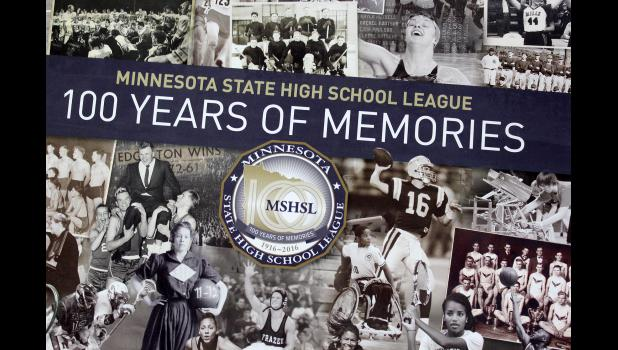 The Minnesota State High School League celebrates its 100th-year anniversary with the release of a commissioned memory book. Luverne and other area teams' pictures are included.