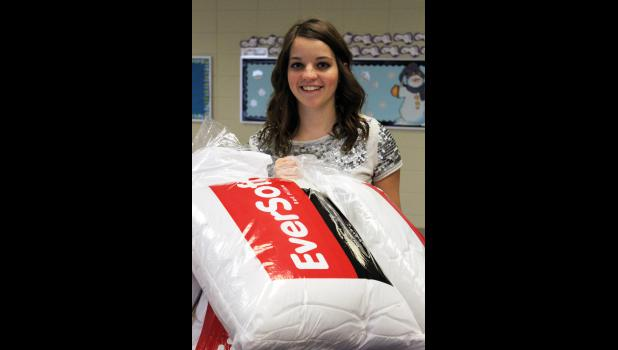 "New standard-sized pillows, fabric and toothbrushes/toothpaste are currently being collected by Luverne High School Senior Mira Uithoven for her ""Every Pillow has a Story"" project."