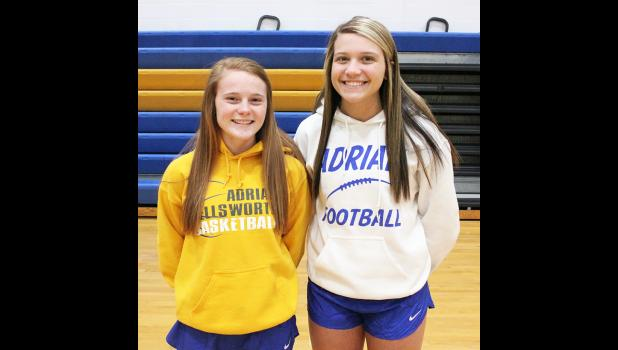 Adrian seniors Moriah Bullerman (left) and Bailey Lonneman drew postseason honors from RRC officials last week.