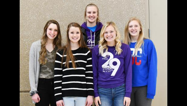 Five members of the Hills-Beaver Creek girls' basketball program raked in postseason honors last week. Taryn Rauk (back, left), Kenadie Fick (front, left), Whitney Elbers (back, middle) and Abby Knobloch (back, right) made the 2019-20 All-Red Rock Conference Girls' Basketball Team. Joslyn Birger (front, right) drew honorable mention for the Patriots, who won the RRC title with a 16-0 record.