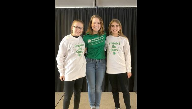 """""""Connecting the Stars"""" was the theme of a daylong Southwest BLU leadership retreat March 2 in Marshall. Attending from Rock County were (from left) Emma Deutsch, state 4-H ambassador Josie Scholten and Janica Oechsle."""