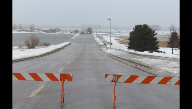 Water over 131st street, south of the Luverne Sanford Medical Center, closed the road to traffic.