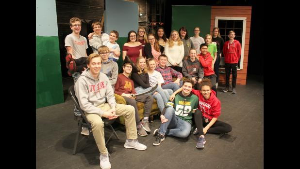 """The cast of """"Larceny and Old Lace"""" will perform at 7 p.m. Friday and Saturday, March 29 and 30, at the Palace Theatre in Luverne. Participating students include (on floor, from left) Meagan Hansen, Mia Wenzel, (second row, sitting) Jordan Winter, Kyle Ferguson, Luke Thorson, Alexa Chesley, Rylee Gee, Gunnar Oldre, Elise Jarchow, Seno Chanthalangsy, (back standing) Xavier Carbonneau, Jacob Hansen, Pierce Cunningham, Sophia Holmberg, Nicole Aanenson, Catalina Oakes, Adrianna Gonzalez, Melanie Rittenhouse, Kat"""