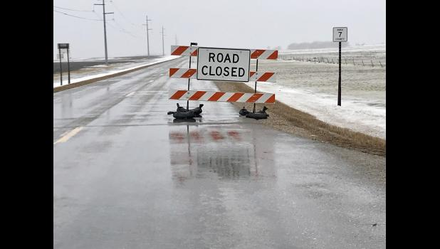 County Road 7 was closed for a period of time this morning due to flooding.