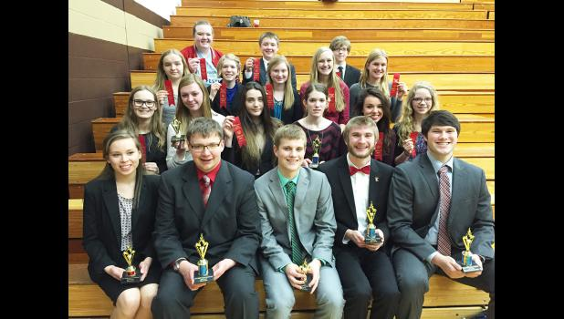 Luverne Cardinal Speech team members who earned awards at the SMSU invitational Saturday in Marshall were (front, left) Samantha Ykema, Knute Oldre, Derek Krueger, Paul Witte III, Dylan Thorson, (second row) Julia Ferguson, Ryleigh Beers, Grace Sweeney, Hannah Hoogland, Marisol Hartshorn, Alexa Chesley, (third row) Courtney Wendland; Nicole Hoogland, Jessica Anderson, Jacinda Hustoft, Hannah Ehlers, (back) Kat Siebert, Gunnar Oldre and Xavier Carbonneau.
