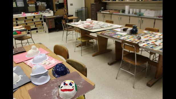 Art projects remain unfinished last week at Luverne Middle-High School after all Minnesota public schools were instructed to close no later than March 18. Students were sent home in order to stem the spread of the coronavirus, and teachers were instructed to plan lessons for distance learning by March 30.