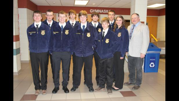 Luverne-Adrian FFA Chapter officers for the 2016-17 are (front, left) Tyler Reisdorfer, Kris Severtson, Michael Kinsinger, Eli Bakken, Kaylie Ossefoort, adviser Dennis Moritz, (back) Cody Sasker, Aric Meinerts, Tyler Fick and Dylan Mente. Not pictured is Will Natte.
