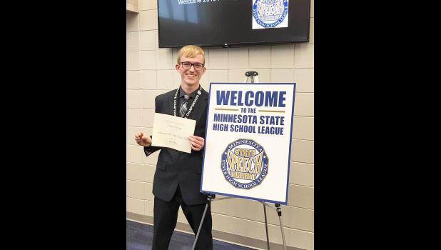 Shane Berning, a Luverne High School senior, earned an eighth-place finish out of 24 participants at the Minnesota State Speech Tournament Friday in Wayzata. He competed in extemporaneous speaking.