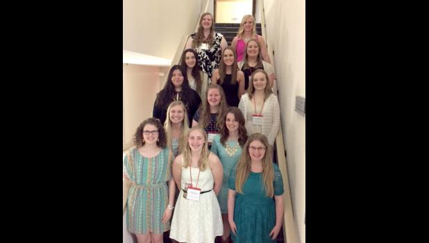 Luverne FCCLA members who participated in national competition include (front row, from left) Zoe Brown, Nicole Aanenson, Alyssa Kienholz, (second row) Sam Aanenson, Mira Uithoven, (third row) Adriana Gonzalez, Jenna Schelhaas, Courtney Wendland, (fourth row) Grace Sweeney, Melissa Tweet, Mikayla Wiederhoeft, (back) Kat Siebert and Nicole Kneip. Madi Oye is not pictured.
