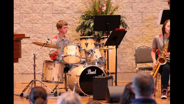 Percussionist Mark Robinson plays the trap set at the Luverne High School jazz band concert on Tuesday evening, April 21.