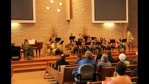 "The ""Cardinal Jazz"" performs a selection at their 2015 Spring Jazz Concert Tuesday, April 21, at the American Reformed Church in Luverne."