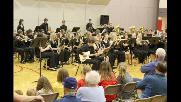 "High school band students perform ""Music from the Hunger Games"" during Friday night's band concert."