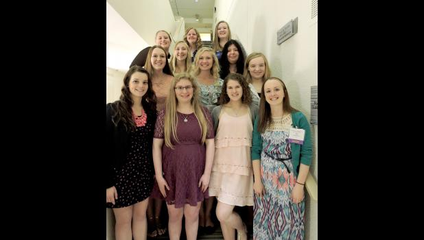 Eleven Luverne Middle/High School students attended the State FCCLA Conference in Bloomington April 16-18. Pictured are (front row, from left) Mira Uithoven, Alyssa Kienholz, Zoe Brown, Amy Cook (adviser), (second row) Melissa Tweet, Sam Aanenson, Courtney Wendland, (third row) Nicole Aanenson, Adriana Gonzalez, (back) Mikayla Wiederhoeft, Jenna Schelhaas and Kat Siebert.