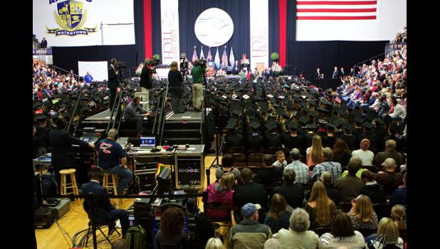 The Watertown, South Dakota, civic center is packed as President Barack Obama addresses the 601 graduates of Lakes Area Technical Institute Class of 2015.