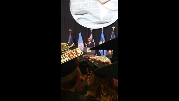 Tracy DeBeer, an Adrian High School graduate, took this picture May 8 of commencement speaker President Barack Obama from her seat at the Watertown, South Dakota, civic center before she received her diploma from Lakes Area Technical Institute.