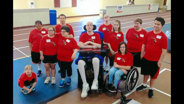 Eleven athletes from Luverne participated in the Area 8 Special Olympics Track and Field Meet recently in Redwood Falls. Pictured (from left) are Ariana Weidert, Jennifer Moller, Erica Egdorf, Nikole Koffron, David Weis, Aaron Dyk, Tyler Briggs, Alex Hartman, Katie Fick, Derek Deutsch and Evan Ushijima.