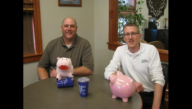 Ryan Wynia (right) at First Farmers and Merchants Bank and Ryan DeBates at Exchange State Bank are accepting donations for the American Cancer Society for Rock County's June 12 Relay for Life event.