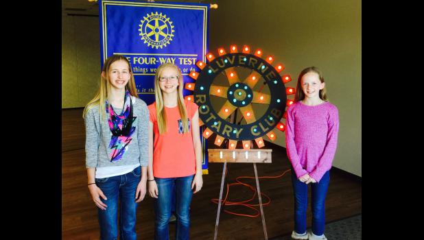 Winners of the Luverne Rotary Club 4-Way Test Essay are (from left) Ellie Hodgen, Ainslie Robinson and Elise Jarchow.