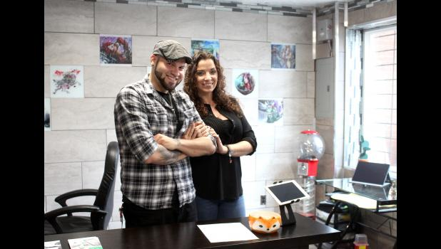 On May 4, digital artist Tony Perez and his wife, Christina, Luverne, opened Conspiracy Tattoo in the south end of Terry Gray's Herb 'N Legend building on East Main Street.