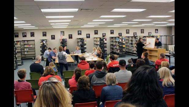 More than 40 people packed into the Luverne Middle/High School media center Thursday night for the community input session of the school board's regular meeting night.