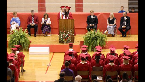 Soon-to-be high school graduates Spencer Schacht (left) and Mckenzi Wenninger welcomed fellow Luverne High School Class of 2015 graduates, friends and family members to Sunday's commencement exercises at the Luverne Elementary School.