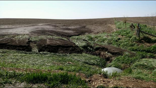 With no crop resident or root matter to hold soil back, the May 10 deluge washed tons of soil out of fields and into nearby ditches and waterways.