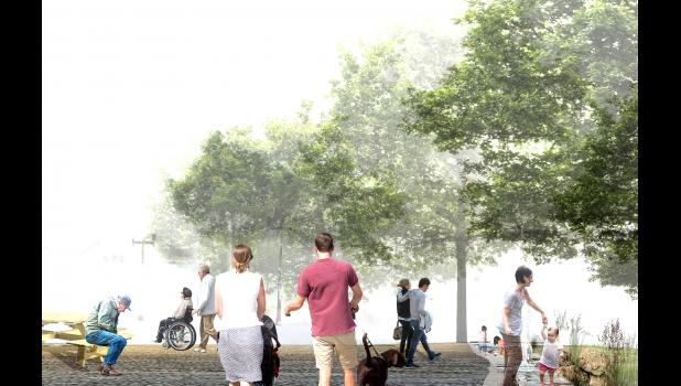 Based on community feedback throughout the process, the proposed plaza concept has open and flexible spaces, a water feature with both flowing water (as deep as a foot in places) and splash fountains. It has green space with trees, native grasses and local materials.