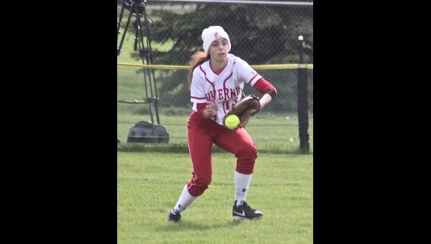 Luverne senior Mckenzi snags a ball in center field during Tuesday's tournament  loss to JCC.