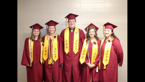 At five members, the Ellsworth High School Class of 2018 became the smallest graduation class in the school's 82-year history when they received their diplomas May 25, in the school gymnasium. Graduates include (from left) Madyson Domeyer, Devin Dreesen, Zach Buntjer, Kristi Kooiker and McKenna Hinrichs.