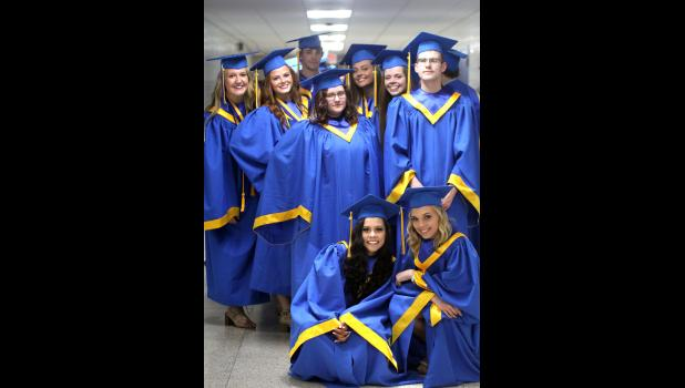Thirty-eight students in the Class of 2018 graduated from Adrian High School Friday, May 25. Pictured (inset) are seniors waiting in the high school hallway for the start of ceremonies (kneeling, from left) Felicity Alvarado, Madisyn Miller, (second row) Caeley Brinson, Austin Metz, (back) Paige Bullerman, Hannah Bullerman, Ryan Wieneke, Taylor Loosbrock and Kayla Martin.