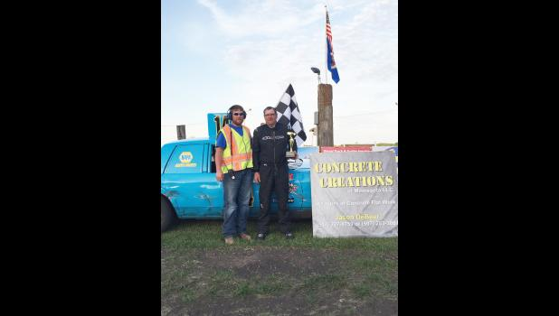 Luverne's Tom Walker, right, placed first in the factory stock class of the Buffalo Days Race at Rock County Speedway Saturday.