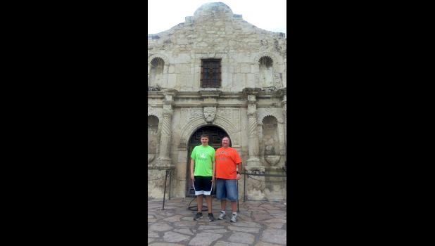 Kyle and Knute Oldre were touring the Alamo in San Antonio at the time their pickup and hunting supplies were stolen.