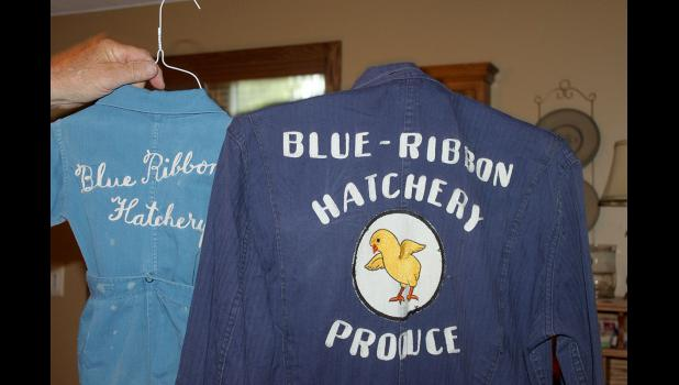 Articles of clothing with the design Blue Ribbon Hatchery. They were photographed at the home of Karin and Eldon Soehl on June 3.