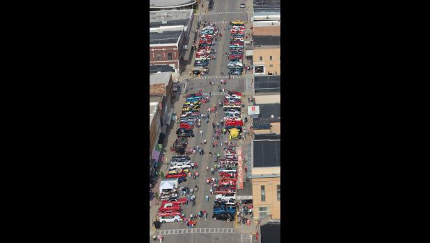 This is the view of Friday night's Cruise-in on Main Street Luverne from seat of the Skyway Helicopter that was in town selling rides for Buffalo Days weekend.