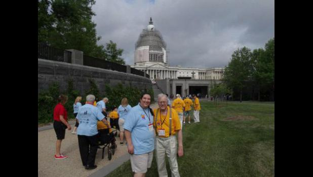 Hills native Glenn Rye and his daughter, Ramona Perkins, recently traveled via an Honor Flight to Washington, D.C., to view the World War II memorial.