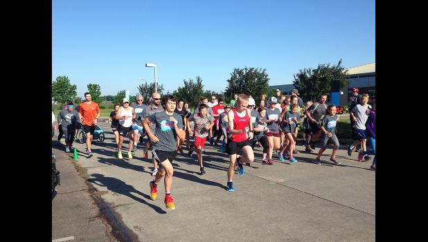 Runners begin the Buffalo Days Fun Run at the Sanford Luverne parking lot June 4. The event drew 65 runners of all ages.