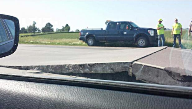 This Minnesota Department of Transportation photo shows the buckle in Rock County near the South Dakota border.