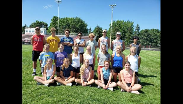 Twenty-one track and field athletes from Luverne High School qualified for the 2021 Minnesota Class A State Track and Field Competition at St. Michael-Albertville High School. Qualifiers and alternates included (front row from left) Isabella Oye, Sarah Stegenga, Jenna DeBates, Tenley Nelson, Tiana Lais, (second row) Kendra Thorson, Maria Rops, Mia Wenzel, Regan Feit, Gracie Zewiske, Elizabeth Wagner, Christina Wagner, (back) Ethan Rahm, Camden Janiszeski, Arekel McLaughlin, LaShad Smith, Owen Janiszeski, El