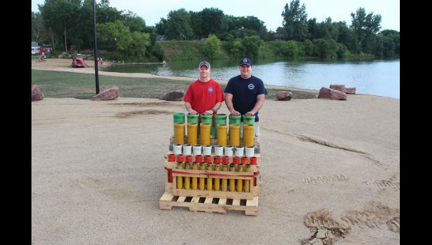 Luverne firemen Jeremy Lehman (left) and Jonathon Kurtz are training to become certified fireworks operators. The July 4 event at The Lake in Luverne will be one of their training sessions toward certification. They're pictured with mortar tubes (up to 6 inches diameter) for this year's show.