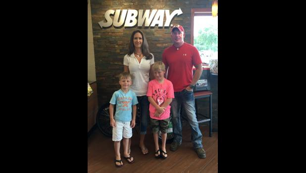 Jennifer and Jeremy Jalas, Spirit Lake, Iowa, are the new owners of Luverne's Subway restaurant. Their boys are Kyson, 6, and Tory, 9.