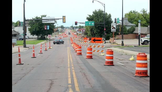 Southbound motorists are routed to the northbound lanes of Highway 75 in the middle of Luverne as road construction continues