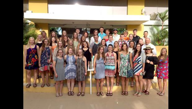 Thirty-six Luverne High School Spanish students and four chaperones spent ten days in Puerto Rico June 15-24. Pictured are (front, left) Megan Rogers, Tayler Hoogeveen, Ashlee Boltjes, Sierra Schmuck, Madison Crabtree, Carly Serie, Hailey Remme, MaKayla Remme, Zayna Hustoft, (second) Nicole Kneip, Katie Roberts, Sierra Wieneke, Danielle Watts-Boll, Taylor Kern, Melissa Tweet, Hanna Honerman, Hailey Franken, Todd Oye, (third) Emily Bartels, Autumn Hamann, Marissa Fick, Kami Sawtelle, Nick Harder, Kasyn Kruse