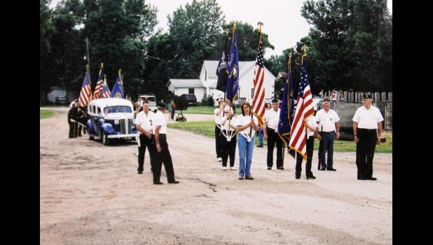 The Old Limo takes its place behind the Arthur Moeller American Legion Post 478 color guard at a recent Jubilee Days parade in Hardwick.
