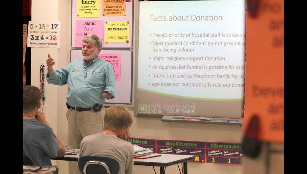 Former Hills resident Al Berdahl is a three-time tissue recipient, so his job with the South Dakota Lions Eye and Tissue Bank comes easily. He's an outreach coordinator and takes the message of organ and tissue donationt to area driver's education classes. He's pictured in Luverne on Wednesday, June 24.