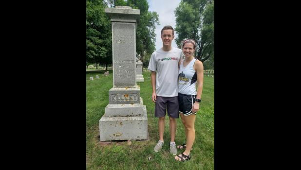 When Steve Kelly (left) and Nicole Slater planned their wedding reception at Grand Prairie Events in Luverne Saturday, they didn't know both families are related to two of the town's earliest settlers.