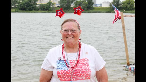 Sandra Oakley, Luverne, sports her stars and stripes for the July 4 celebration at The Lake.